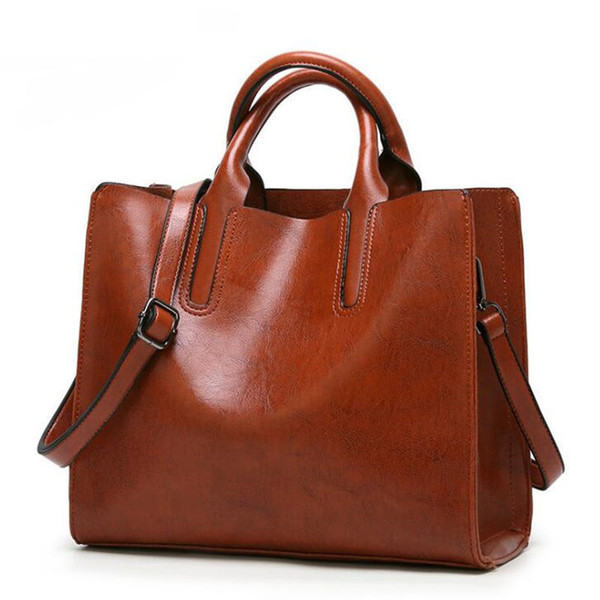 goood quality 2019 New Oil Wax Pu Leather Crossbody Bags Women Messenger Bags For Fashion Handbag Female Large Shoulder Bag