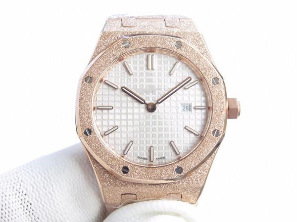 Nuovo movimento al quarzo orologio di lusso in vetro zaffiro specchio di lusso materiale orologio cinturino in oro rosa con guscio in oro