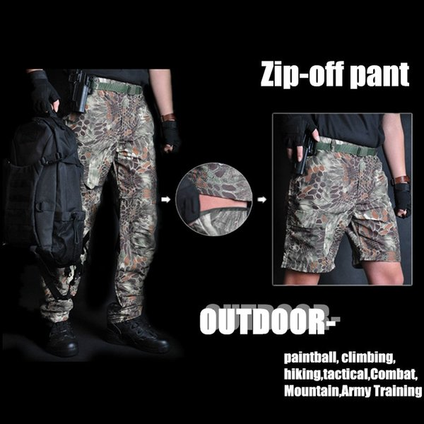 quick dry men summer tactical cargo pants zip-off waterproof outdoor hiking shorts hunt fishing army style combat pants