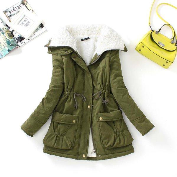 FTLZZ Yeni Sonbahar Kış Kadın Pamuk Palto Orta Uzun wadded İnce Ceket Termal Sıcak Parkas Casual Yorgan Palto