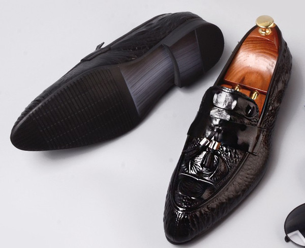 Exclusive top quality Men business dress shoes embossed crocodile cowhide leather rubber chunky heel pigskin insole ventilate