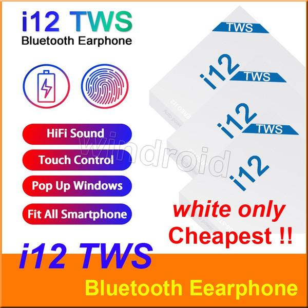 I12 tw bluetooth 5 0 wirele bluetooth headphone upport pop up window earphone touch control wirele head et earbud white
