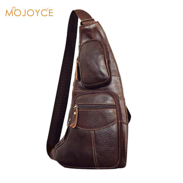 Casual Solid Crossbody Bags for Men Leather Chest Packs Male Travel Messenger Shoulder Bag Money Phone Pouch