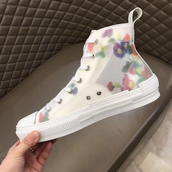 2019 Designer Trainer Fashion floral print Fabric mesh Breathable shoes FLAT Platform Rubber sole mens lace up high top Sneakers 39-44eu