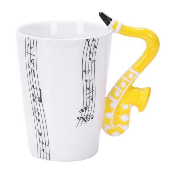 SNNY NEW Saxophone Ceramic Coffee Mugs Porcelain Milk Mug Cups Music Notes Home Office Drinkware