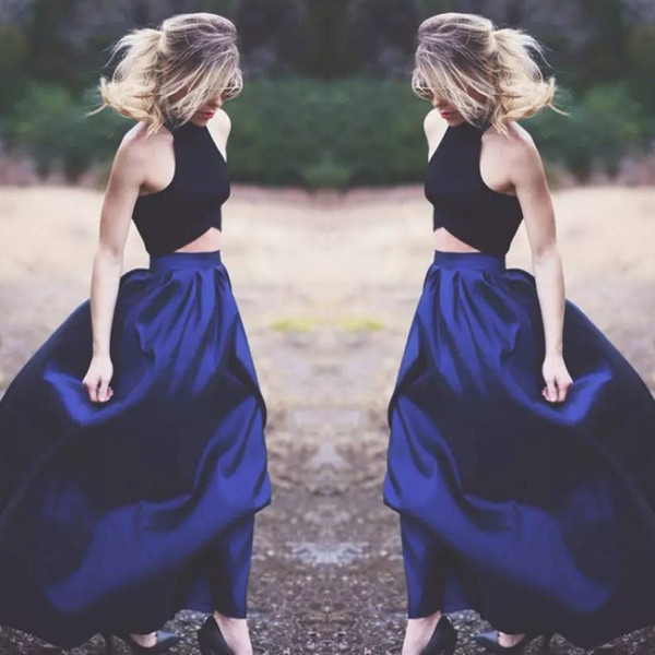 fitted navy 2 piece prom dress Fashion A Line Halter Satin Unique Evening Gowns Long Formal Party Dresses Cheap Holiday 2018 prom Dress