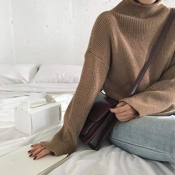 5 couleurs 2018 style breif automne hiver couleur unie à col roulé pulls chauds et pullovers femmes (F1311) MX190928