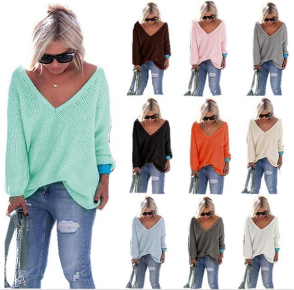 Mulheres Pullovers Oversized Cor Sólida Com Decote Em V Camisola Tops T-shirt de Manga Longa Outwear Malhas Outono Solto Casuais Jumpers Pullover