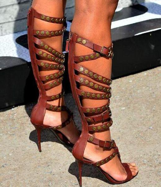 Summer Red Hot en cuir brun Buckles femmes cuissardes ouvert femme Toe talon haut Bottes Gladiator Party Chaussures