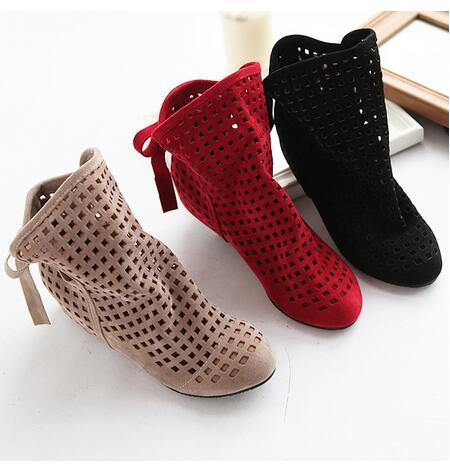 Hot Sale-size 34-43 Women's Boots Summer Cute Flock Flat Low Hidden Wedges Solid Cut-outs Ankle Boots Ladies Dress Casual Shoes 3 colors