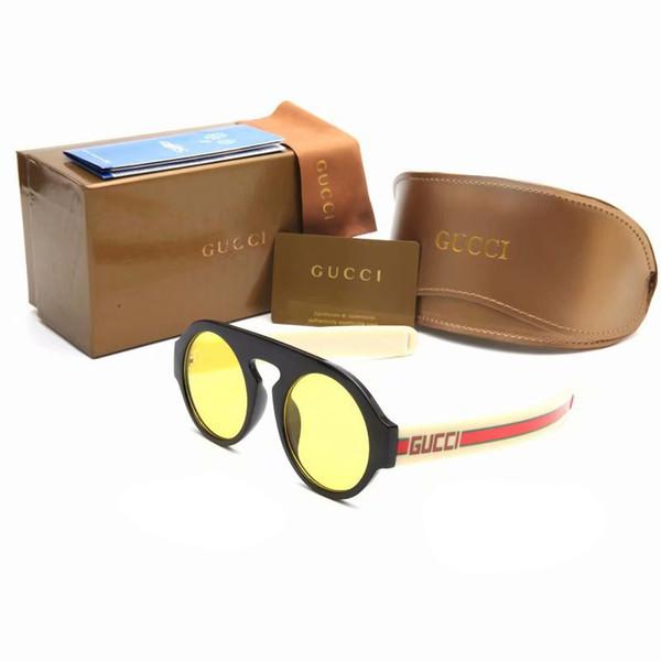 2 STÜCKE Marke Designer Sonnenbrillen Mode Frauen Runde Rahmen sonnenbrille Gespiegelte Linsen Gelbe Brillen UV400 Gafas de sol 0256