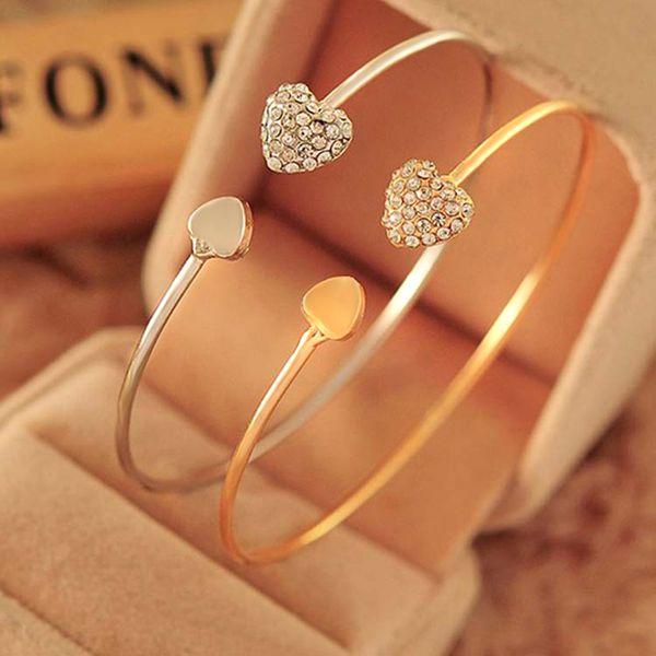 Hot Sale Wedding Bangle Jewelry Adjustable Crystal Double Heart Bow Bilezik Cuff Opening Bracelet New Fashion Women Jewelry Gift