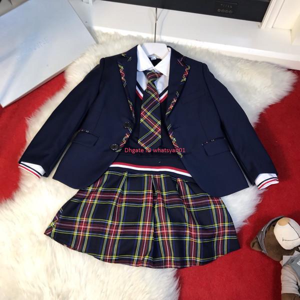 Çocuk takımları setleri çocuklar tasarımcı giyim blazer + kazak + etek veya pantolon 3 adet sonbahar erkek ve kız çocuksu iki parçalı kazak seti