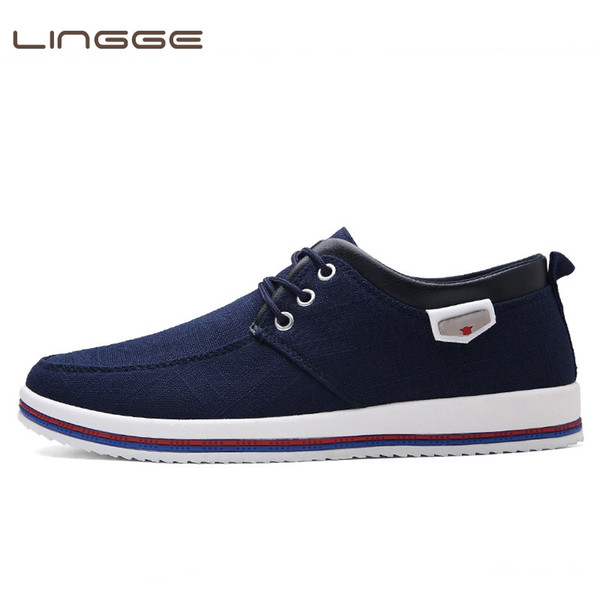 LINGGE New Arrival Spring Summer Comfortable Casual Shoes Men's Canvas Shoes For Men Lace-Up Brand Fashion Flat Loafers Shoe #352260