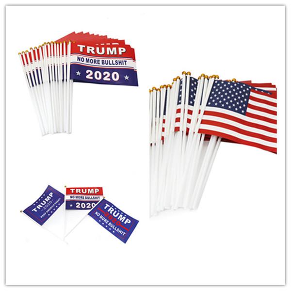 top popular Handhold Donald Trump Flag American Flags Keep America Great Banner Mini Flag President 14*21cm Paper Waterproof Hand Flag Flagpole E3307 2021