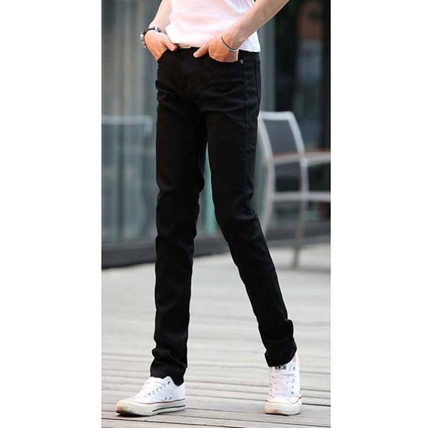Verão jeans skinny homens 2019 moda coreana cor sólida calças stretch lápis finos homens rua esportes casuais mens jeans marca