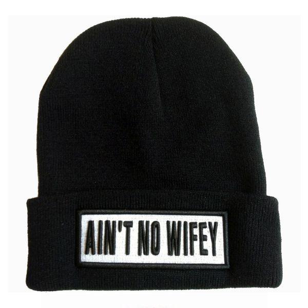 Autumn Winter Warm Woman/Man AIN'T NO WIFEY Letter Beanies Fashion Crochet Hat Knit Baggy Beanie Hat Bonnet Head Cap