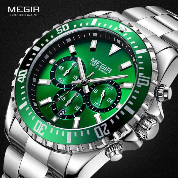 MEGIR Montre Homme Chronographe Quartz Acier Inoxydable Etanche Lumious Analogique 24 Heures Homme Vert Cadran 2064G-9