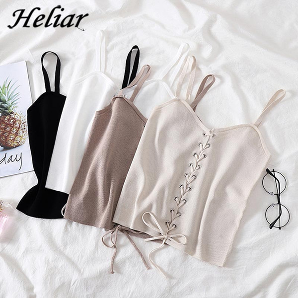 Camis HELIAR Drawstring Crop Top Female Camis V-neck Vest White Stretchy Tank Tops Femme Club Sexy Knitting Skinny Tank Tops Women
