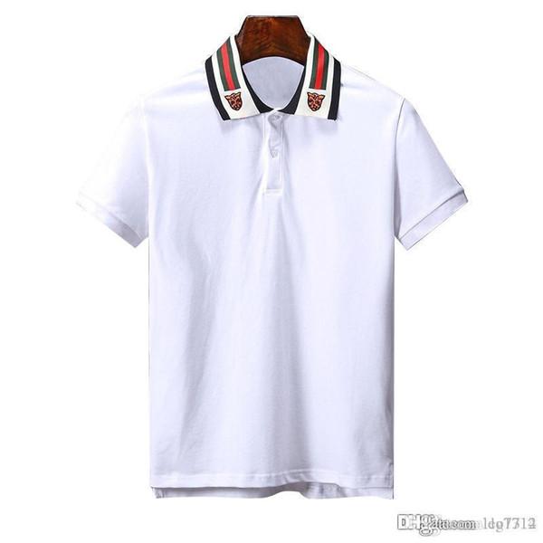 Nova Marca bordado Serpente Abelha t camisas para homens Itália Moda camisa poloshirt homens High street Tigre impressão dos homens camisa polo Tees