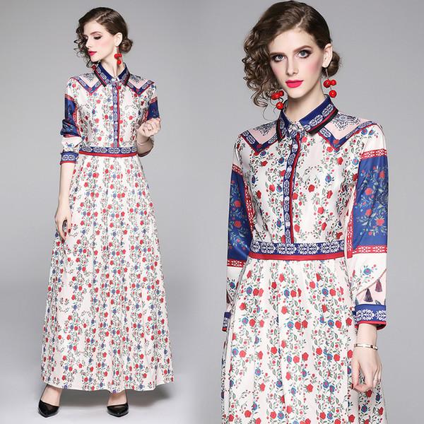 Top nuevo diseño estampado floral vestido primavera otoño pista mujer camisa de manga larga vestido Office Lady Business Slim fiesta vestidos de baile