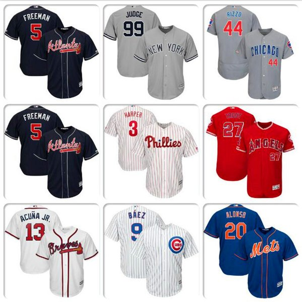 competitive price 76239 7a9ee 2019 Mens Baseball Jersey Bryce Harper Javier Baez Aaron Judge Cody  Bellinger Mike Trout Ronald Acuna Jr. Authentic Home Jerseys Cheap Shirt  KIDS From ...