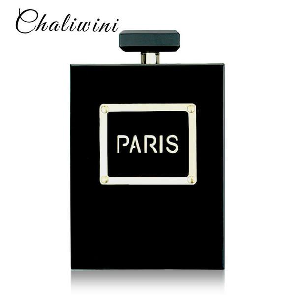 Hot Acryl Parfüm Frauen Casual Schwarze Flasche Handtaschen Brieftasche Paris Party Toiletry Hochzeit Clutch Abendtaschen Geldbörsen Handtaschen Y19061301