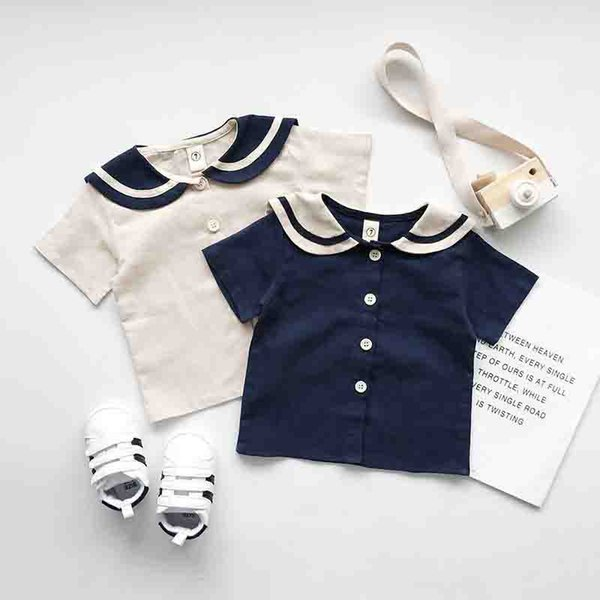 Kids cotton linen outfits navy style boys stripe lapel single breasted short sleeve shirt+double pocket shorts 2pcs sets girl clothes
