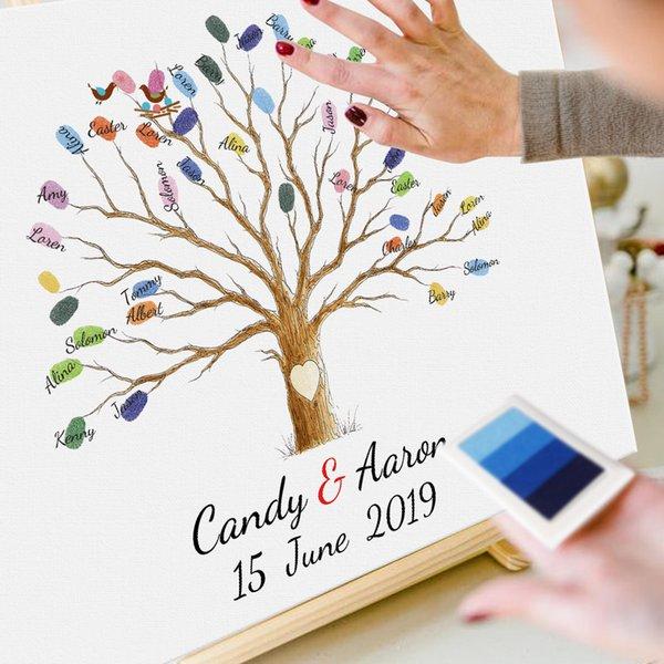 (Senza cornice) Nome personalizzato Data Fingerprint tree Tela Firma Guest Book per la decorazione di nozze Comunione Souvenir 2019 Nuovo