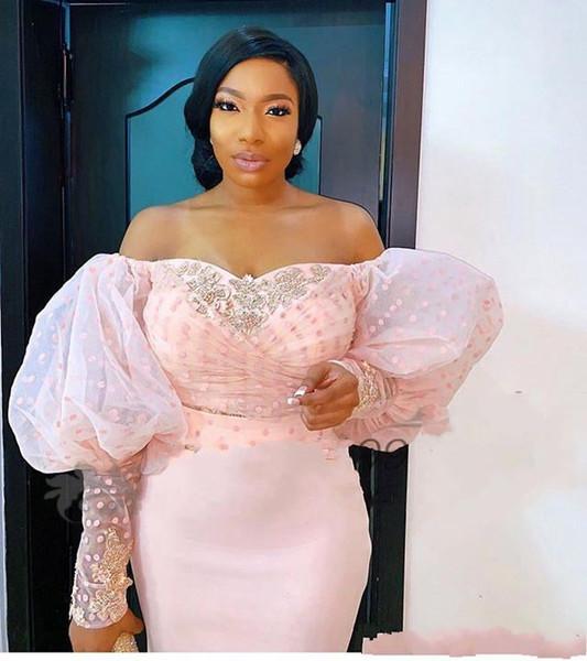 2019 abiti da sera a maniche lunghe in pizzo nigeriano fuori dalla spalla manica a sbuffo eleganti abiti da ballo per feste celebrity formale arabo africano in rilievo