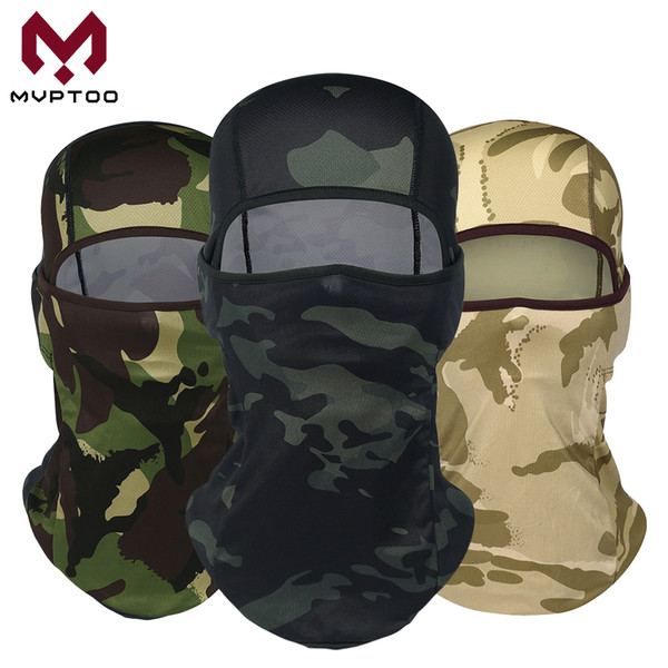 Tactical Army Balaclava Cap Camouflage Motorcycle Moto Face Masks Camo Fishing Biker Windproof Helmet Liner Full Face Shield