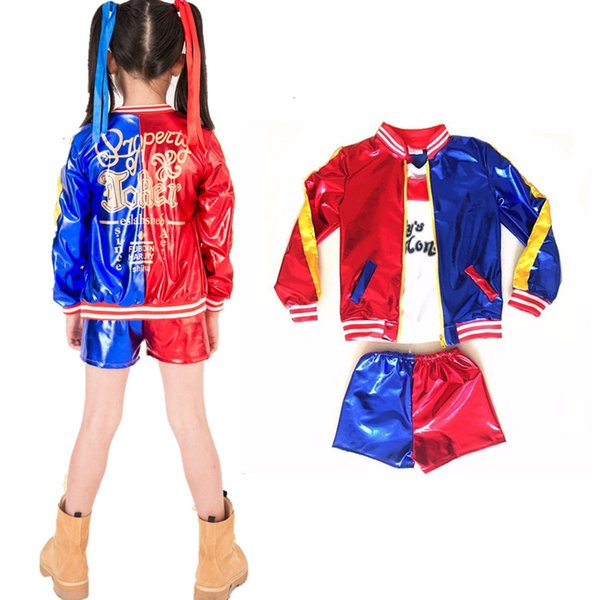 Hot 3pcs Harley Quinn Kostümjacke T-Shirt T-Stück Papas Lil Monster Suicide Squad Cosplay Halloween-Kostüm für Kinder GirlMX190921MX190921