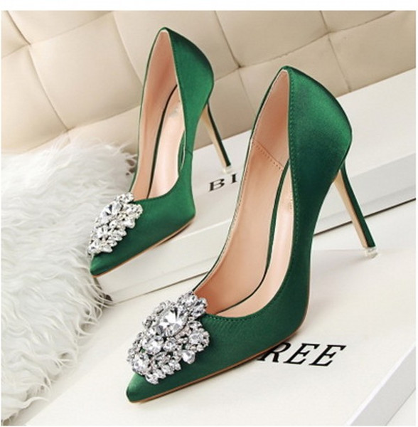 Scarpe Verdi Sposa.Acquista Scarpe Da Donna Di Colore Verde Scuro Scarpe Da Sposa