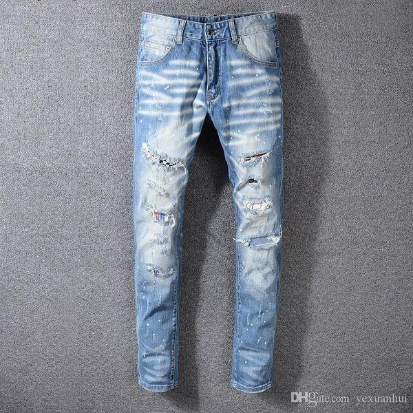 Free mail New Italian style # 559 # Herren Distressed Destroyed Patches Kunst Hosen Washed Denim Hellblaue Röhrenjeans Slim Trousers Design
