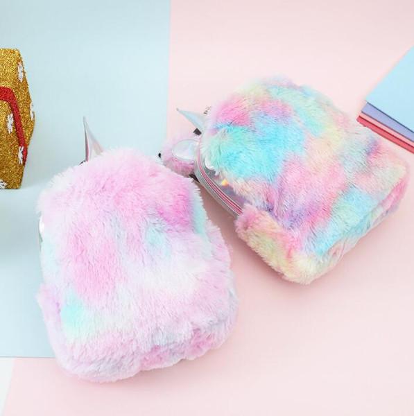 Mochilas de felpa Moda Unicornio Mujeres Rainbow Diseñador Bolsa Niñas PU Cuero Colorido Estudiante Bolsos escolares Bolso de felpa CCA10882 12pcs
