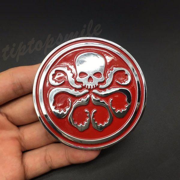 Captain Hydra Biohazard Car Sticker 3D Metal Skull Emblem Auto Badge Decal Motor