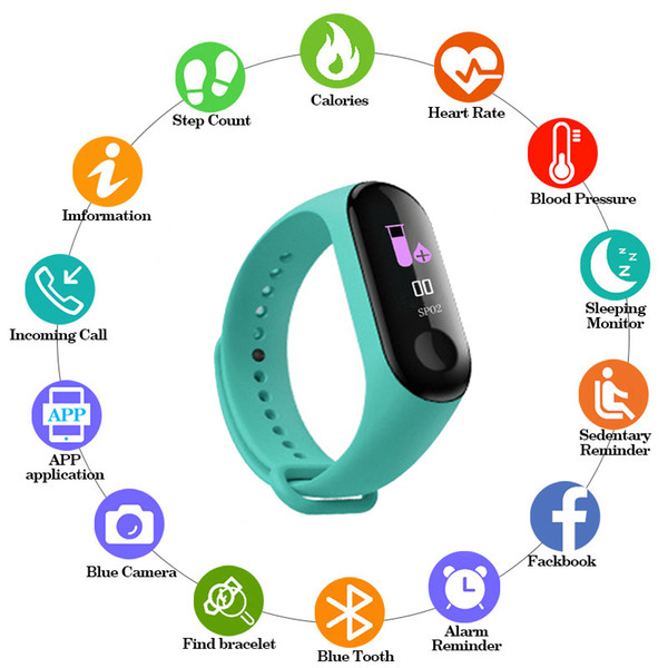 M3 color IPS screen fashion smart sports bracelet IP67 waterproof blood pressure activity tracker for men and women Bluetooth wa