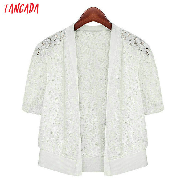 Tangada женский кружевной кардиган черный белый корейский стиль летнее пальто с коротким рукавом топ 2019 леди урожай кардиган пальто ANY01