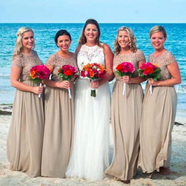2019 Capped Lace Kurzen Ärmeln Strand Brautjungfernkleider Günstige Rundhalsausschnitt Lange Chiffon Hochzeitsgast Kleid für Braut