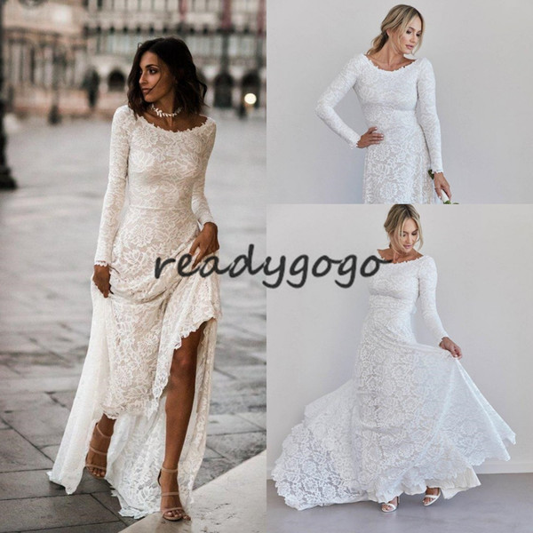 Vintage Bohemian Bride Wedding Dresses 2020 Retro Full Lace Jewel Backless Long Sleeve Countryside Trumpet Beach Wedding Gown