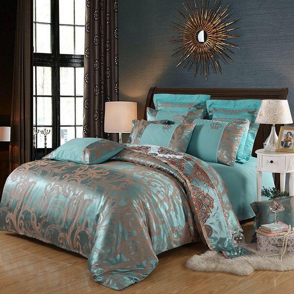 Cama de diseño Establece satén de algodón jacquard reina cama King Size Ropa de cama Funda Nórdica sistema de la hoja de almohada 4pcs Cny1863