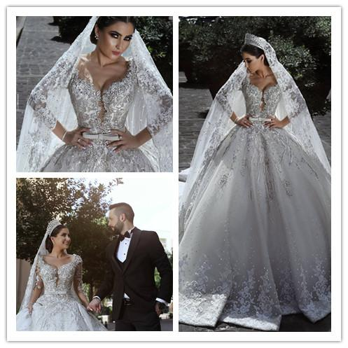 Vintage Luxury Ball Gown Long Sleeve Lace African Plus Size Muslim Wedding Dress With Veil Beads Beach Zuhair Murad Bridal Gowns