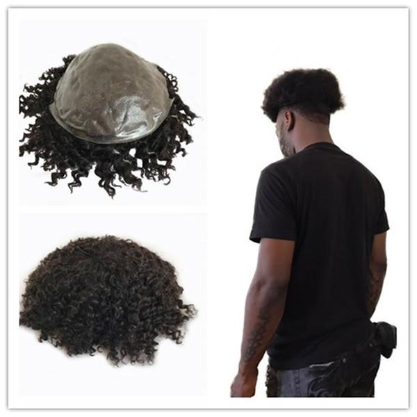 Afro Kıvırcık 8mm Dalga Erkekler Peruk İnsan Saç Tam Pu İnce Cilt Erkekler Peruk Doğal Siyah Ücretsiz Stil Postiş Dayanıklı Değiştirme sistemi