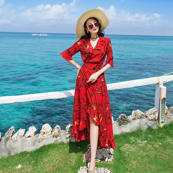 Wrap Dress 2019 New Arrive Red Bird Print Chiffon V Neck Ruffle Trim Hi-lo Maxi Beach Holiday Travel Women Dresses 31811