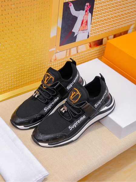 2019s automne nouvelles baskets de la mode des hommes en cuir de marque, chaussures décontractées sauvages de haute qualité de haute qualité, emballage d'origine, taille: 38-44