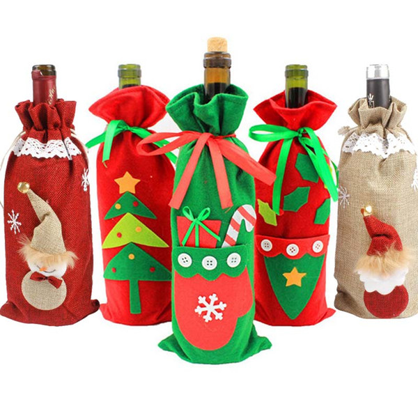 Stockings & Gift Holders Hoomall Red Wine Bottle Cover Bags Party Dinner Table DIY Christmas Decoration For Home New Year Gift Bag