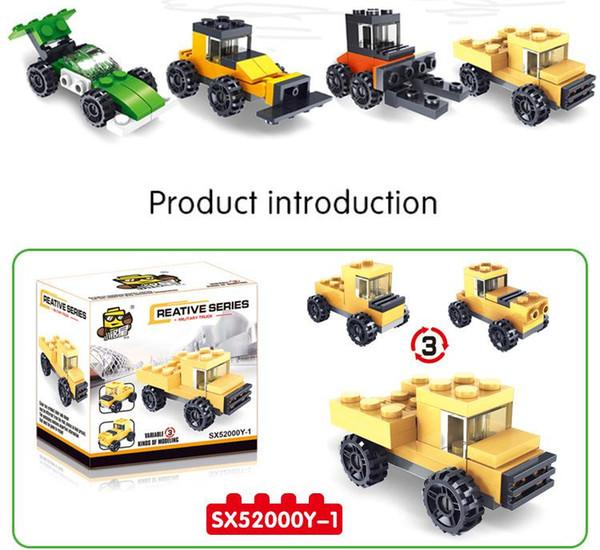 Hot bloco blocos três mudanças combinação de brinquedos do edifício cinco em um fogo de tanques de corrida crianças Gift Toy educacionais crianças A0001