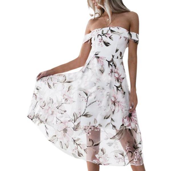 2019 Primavera Estate Dress Sexy delle donne al largo della spalla Boho Floral Print Organza Dress Swing Party Beach