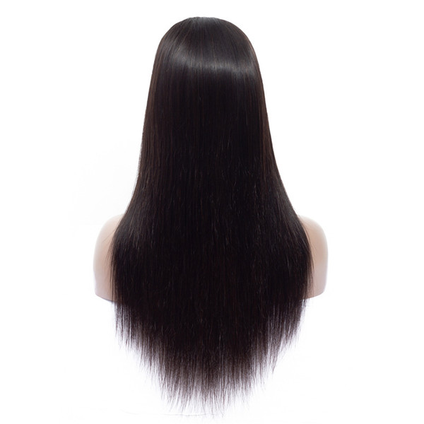 Brazilian Human Hair Wigs Virgin Straight Hair Middle Part 4x4 Lace Front Wig with Bangs for Black Women 180% Density Glueless Natural Color