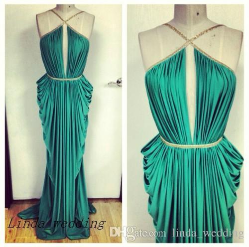 무료 배송 높은 품질 마이클 코스텔로 여신 에메랄드 그린 이브닝 드레스 새로운 긴 주름 정장 파티 드레스